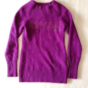 Armani Exchange Wine Burgundy Angora Wool Sweater